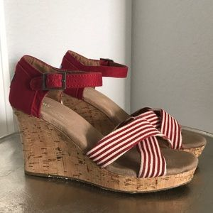 TOMS classic red/ivory striped canvas wedges